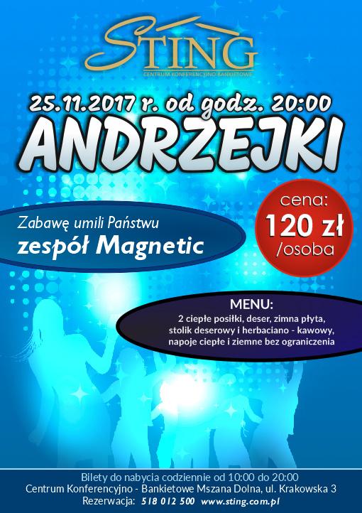 Sting Mszana Dolna - Andrzejki 2017 plakat