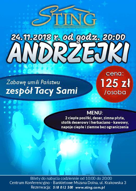 Sting Mszana Dolna - Andrzejki 2018 plakat