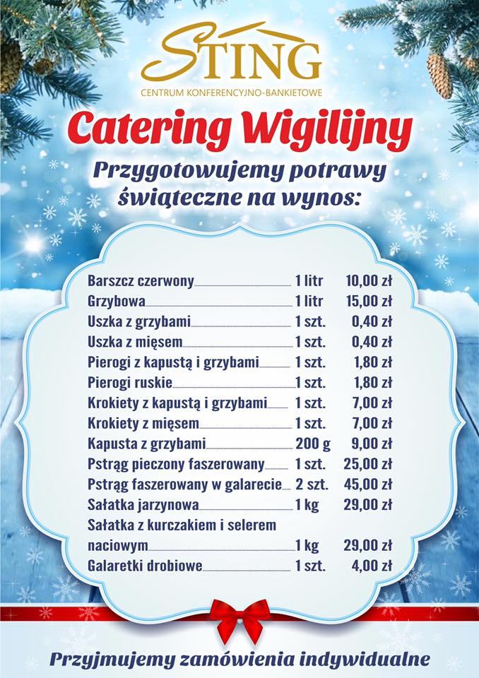 Catering wigilijny Sting na rok 2017 - Menu