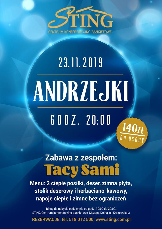 Plakat Sting Mszana Dolna Andrzejki 2019