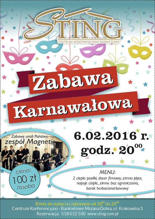 STING Zabawa karnawałowa 2016 plakat
