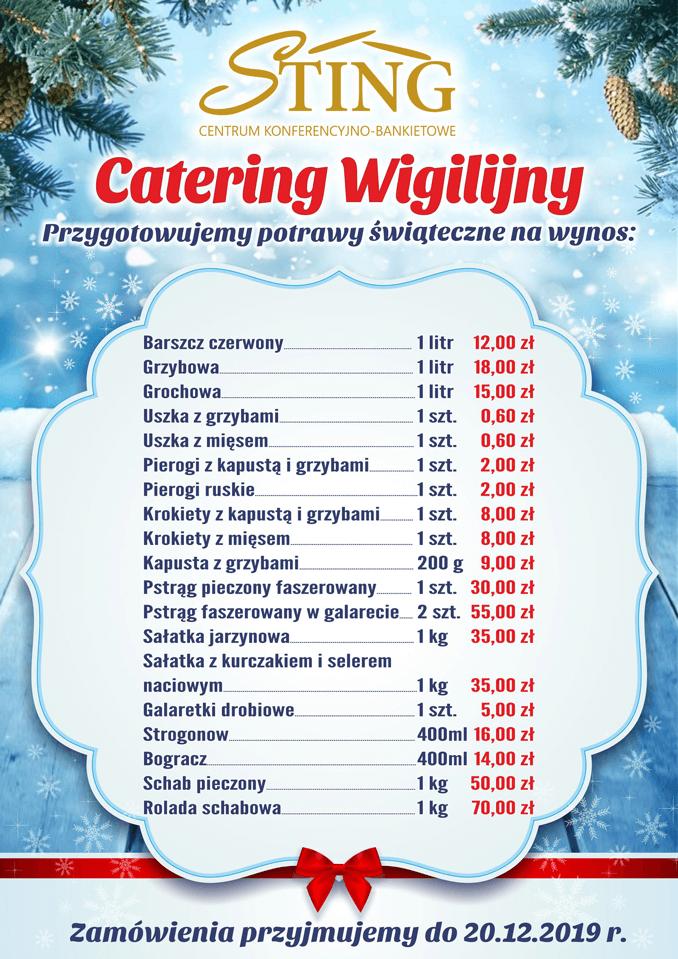 Catering wigilijny Sting na rok 2019 - Menu