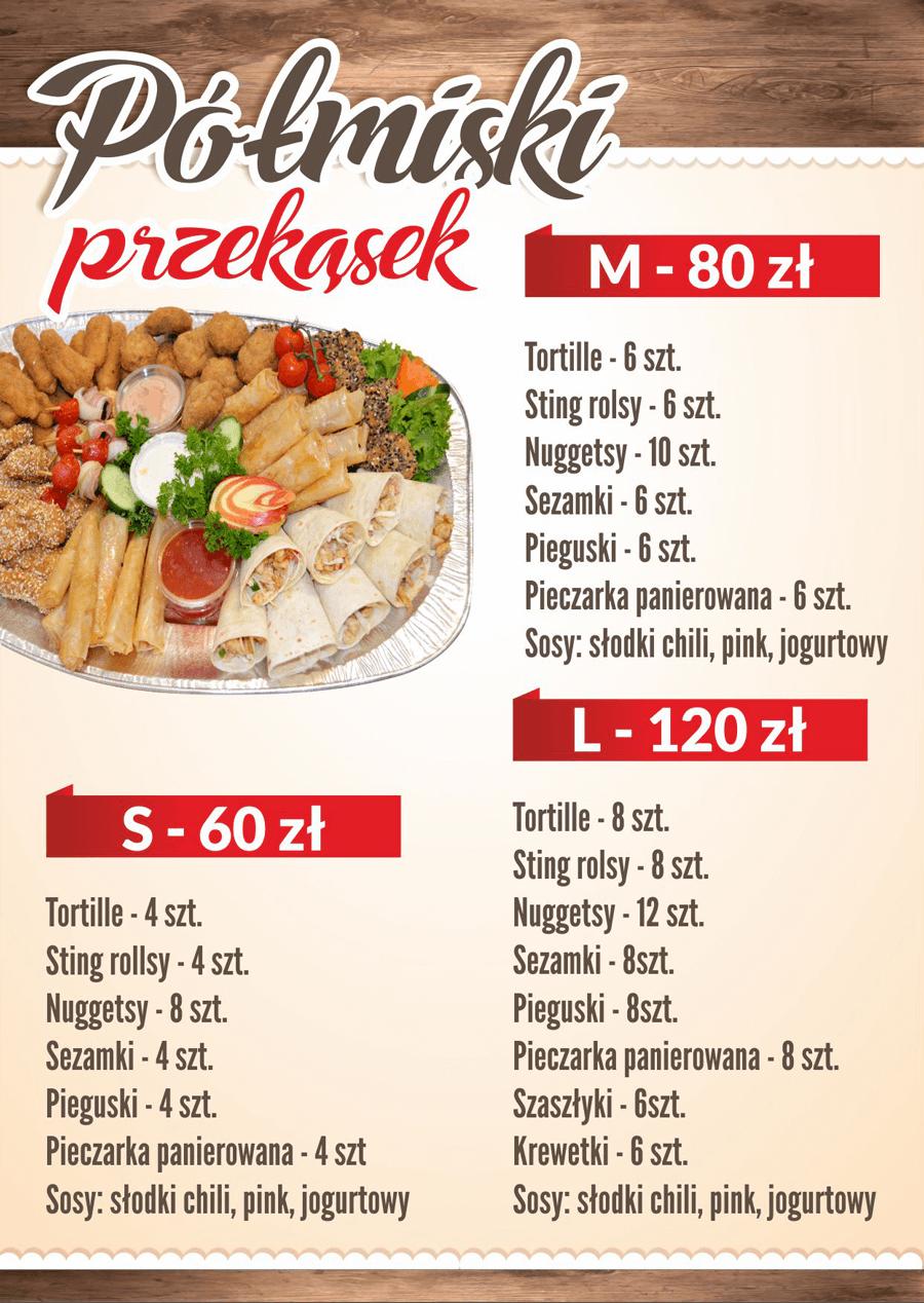Półmiski przekąsek menu