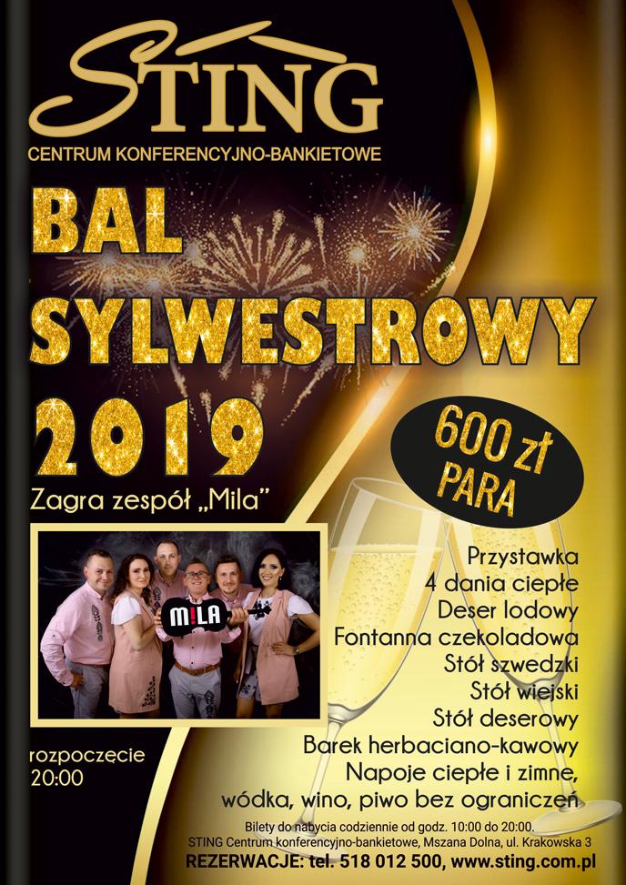 Plakat Sting Mszana Dolna Sylwester 2019